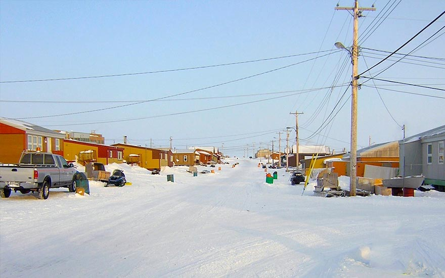 View of the main street of the hamlet of Gjoa Haven, Nunavut