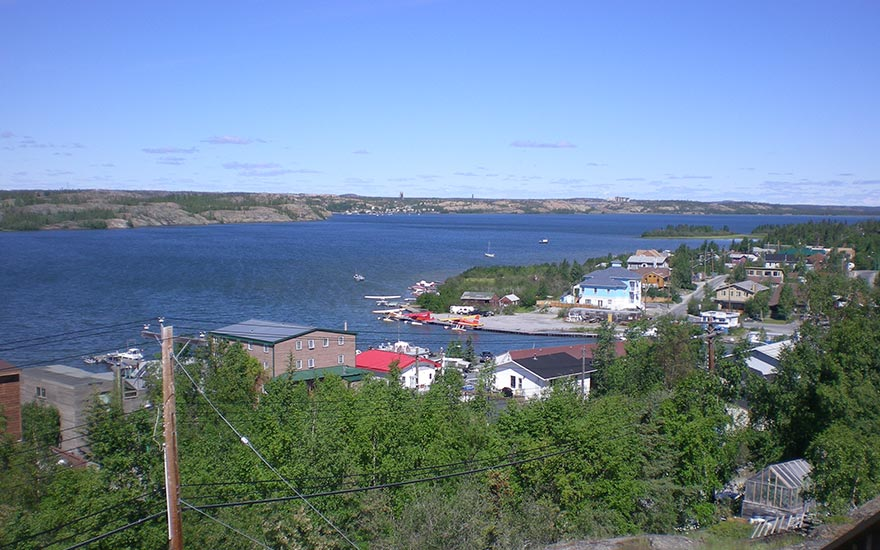 Looking across Great Slave Lake towards the Yellowknife Yacht Club and Giant Mine